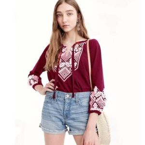 J. Crew Boho Embroidered Tie Neck Cotton Tee Med